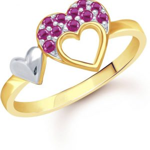 VK JEWELS DOUBLE HEART ALLOY CUBIC