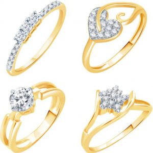 Sukkhi Alloy 18K Yellow Gold Plated Ring Set
