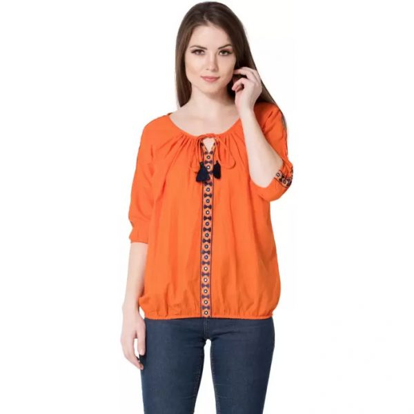 AANIA Casual 3/4th Sleeve Embroidered Women