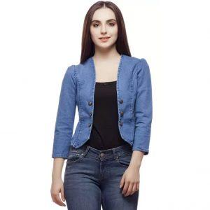 Clo Clu 3/4th Sleeve Solid Women's Denim Jacket