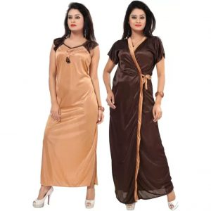 Fabme Women's Nighty with Robe  (Brown)