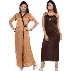 Fabme Women's Nighty with Robe