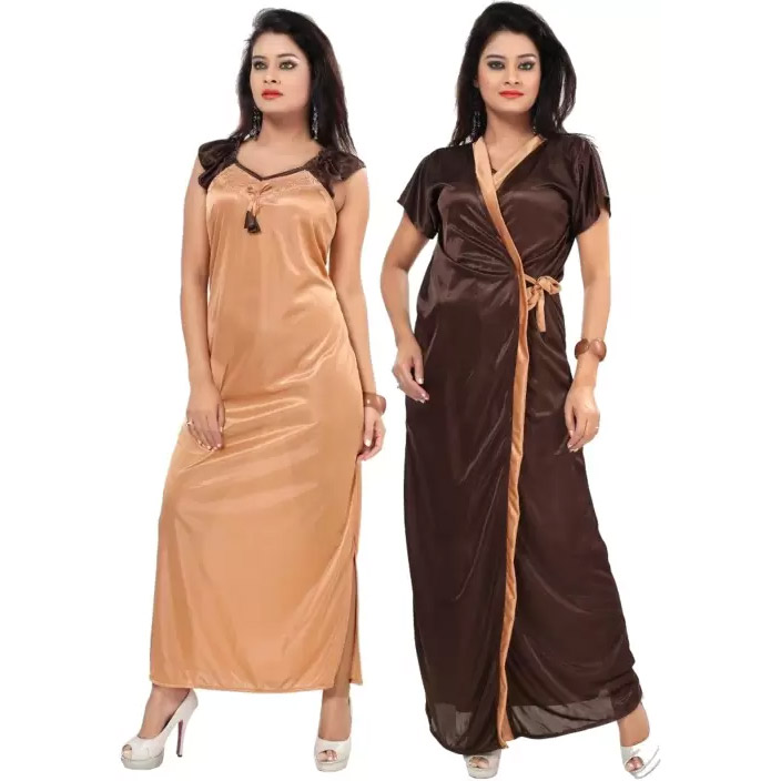 fac23deede Fabme Women s Nighty with Robe (Brown) - Women Fitness Org