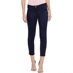 Honey By Pantaloons Slim Fit Women's Dark Blue Trousers