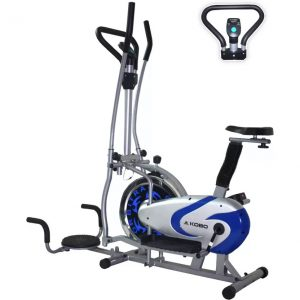 Kobo Multi Orbitrac Elliptical Steel Wheel with Twister Upright Stationary Exercise Bike  (Blue, Silver)