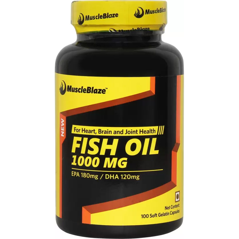 Muscleblaze omega 3 fish oil 1000 mg 180mg epa and 120mg for Fish oil 1000 mg