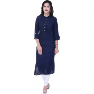 Style N Shades Solid Women's Straight Kurta  (Blue)