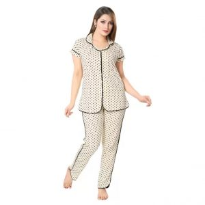 AV2 Women's Printed Beige Top & Pyjama Set