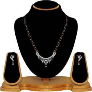 American Diamond Copper, Brass Jewel Set  (Gold, White)