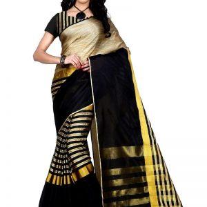 Trendz Style Striped Fashion Tussar Silk, Cotton Linen Blend Saree  (Black)