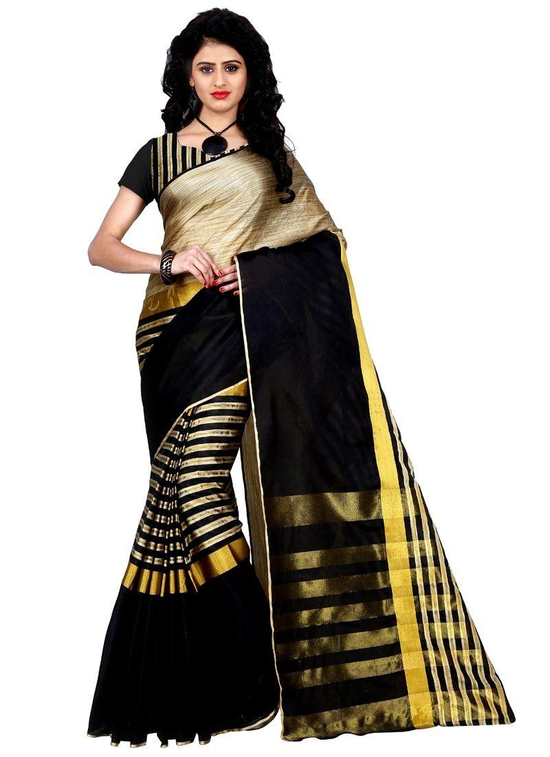 45ac19089aabf6 ... Cotton Linen Blend Saree (Black). Trendz Style Striped Fashion Tussar  Silk