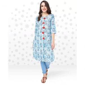Anmi Printed Women's Straight Kurta  (Blue)