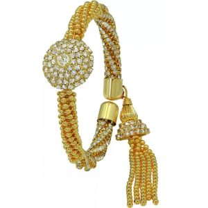 Atasi International Alloy, Crystal Crystal 24K Yellow Gold Charm Bracelet