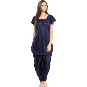 Fashigo Women's Solid Blue Top & Pyjama Set