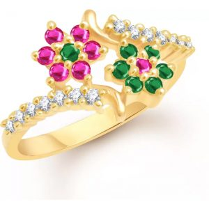 VK Jewels Couple Star Alloy Cubic Zirconia Yellow Gold Plated Ring