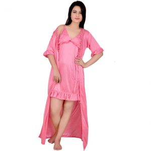 Kanika Women's Nighty with Robe  (Pink)
