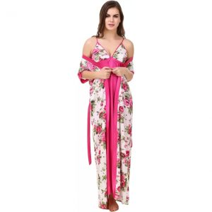 Masha Women's Nighty with Robe  (Pink)