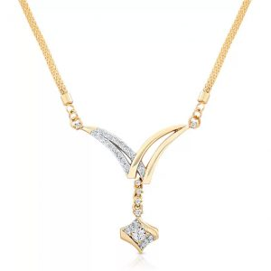 Oviya Dazzling Arc Crystal Yellow Gold Plated Alloy, Brass Necklace