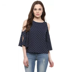Harpa Casual 3/4th Sleeve Polka Print Women's Dark Blue Top