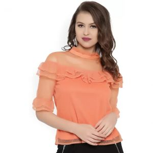 Rare Casual Half Sleeve Solid Women Orange Top