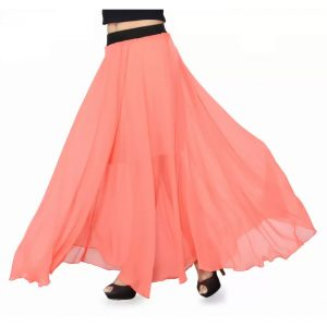 Ishin Solid Women's Regular Orange Skirt