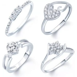 Sukkhi Alloy Cubic Zirconia Rhodium Plated Ring