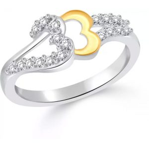 Classic Shadow Hearts Gold & Rhodium Plated Ring for Women Size13
