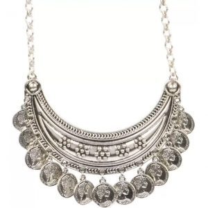 Sansar India Coins Silver Plated Metal Necklace