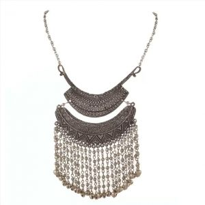 Zephyrr Fashion Oxidized Silver Turkish Bib Choker Beaded Necklace for Women Alloy Necklace