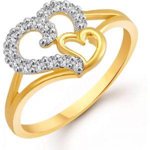 Vighnaharta Couple Heart Alloy Cubic Zirconia Yellow Gold Plated Ring