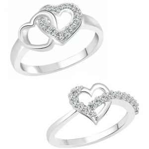 Vighnaharta Valentine Elegant Heart Combo Rings for Women and Girls