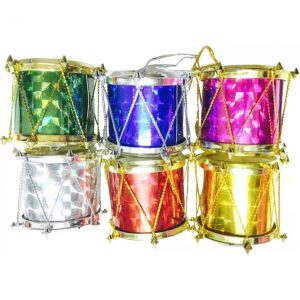 Priyankish Xmas Tree Colored Drums Hanging Ornaments  (Pack of 6)