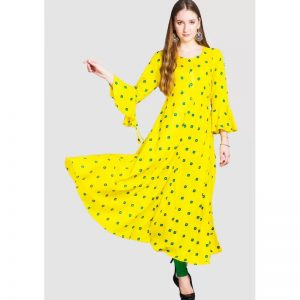 Divastri Women's Printed Anarkali Kurta  (Yellow)