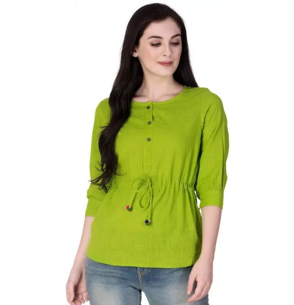 Sleeve Solid Women's Green Top