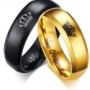 "Yellow Chimes Crown Engraved 'King Queen"" Proposal Couple Rings"