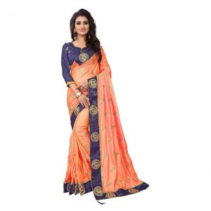 Kuki Embroidered Fashion Georgette, Cotton, Silk Saree  (Orange, Blue)