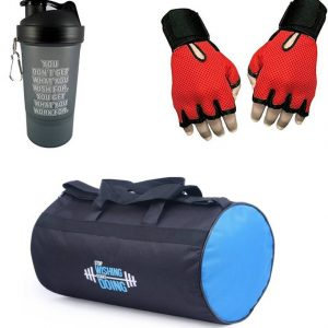 Vellora Gym Bag, Protein Shaker And Gym Glove